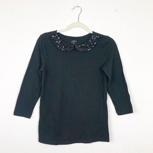 LOFT Black Classic Top with Sequin Collar